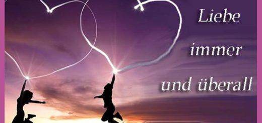 zwei Herzen die Liebe in den Himmel
